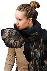 Šály - Elegantný čierny šál z jemnej Merino vlny a Alpaky - 8713868_