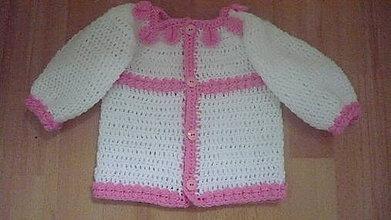 Detské oblečenie - Dievčenský sveter bielo-ružový - 8712898_