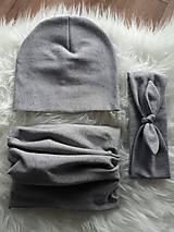 Čiapky - Setík grey melírovaný - 8712992_