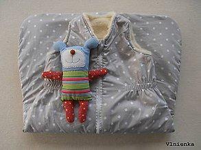 Textil - Ovčie rúno Detský spací vak na zimu 100% MERINO TOP super wash BODKA piesková - 8714302_