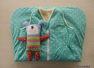 Textil - Ovčie rúno Detský spací vak na zimu 100% MERINO TOP super wash Hviezdička mentolová MINT - 8714337_