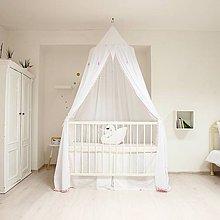 Textil - Biely baldachýn s balmuľkami 250cm - 8714250_