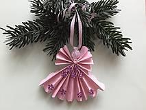 Dekorácie - Vianočné ozdôbky 6 / anjelik ružový / - 8710625_