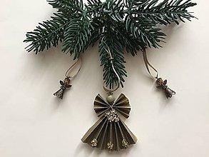 Dekorácie - Vianočné ozdôbky 5 / anjelik zlatý/ - 8710600_