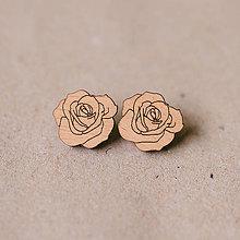 Náušnice - ruža natur - napichovačky - 8712654_