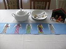 Úžitkový textil - Maľovaný obrus stredový - modrošedý, 120 x 20 cm - 8710763_