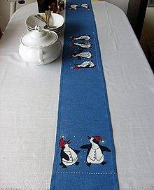 Úžitkový textil - Stredový obrus , ručne maľovaný, veselí tučniaci ,156 x 20 cm,  modrý - 8710809_