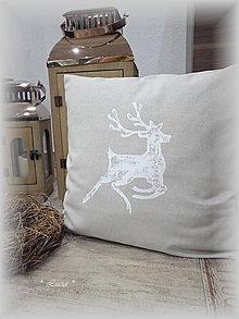 Úžitkový textil - Vianočná obliečka sob otlačok - 8711008_
