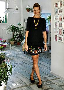 Šaty - Čierne šaty s maľbou Round - 8713550_