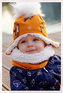 Detské súpravy - Zimný set s menom Reindeer mustard & fleece cream - 8714307_