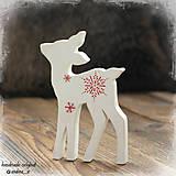 Dekorácie - srnča biele s červeným - 8711508_