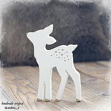 Dekorácie - srnča biele so zlatým - 8711524_