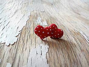 Náušnice - maľované bodkované srdiečka (PIDI červené) - 8713354_