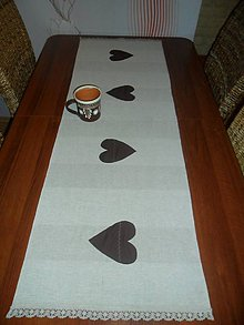 Úžitkový textil - Obrus-štóla srdiečková s krajkou - 8718716_
