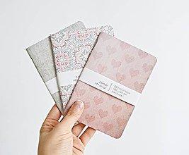 Papiernictvo - 3 zápisníky - mint/ružové - 8716089_