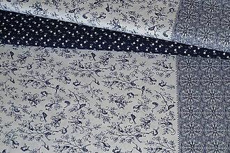 Textil - Látka Bordúra Modrý vtáčik - 8718426_