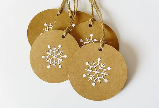 Papiernictvo - Vianočné visačky natur s vločkou - 8716253_