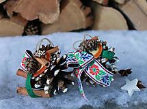 Dekorácie - folk, farebné_ vianočné ozdôbky - 8719683_