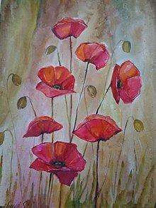 Obrazy - Červené maky (akvarel) - 8716781_