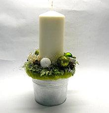 Dekorácie - Zelený svietnik na stôl - 8719240_