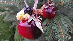Dekorácie - Sada 3 kusy.Vianočne ozdoby -jablčka - 8715925_