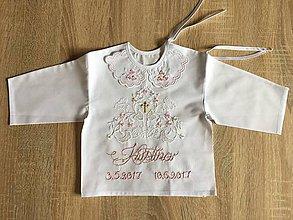 Detské doplnky - Krstná košieľka ručne vyšívaná - 8719451_