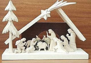 Dekorácie - Betlehem drevený 3-kráľový veľký - 8718411_