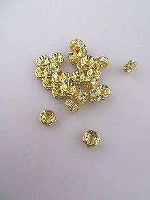 Galantéria - štrasová korálka rondelka 8mm zlatá - 8717431_