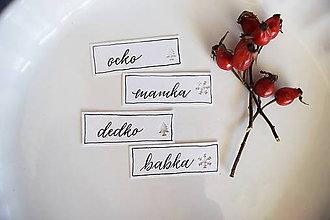 Papiernictvo - Vianočné menovky // perleťové (4 ks) - 8718613_