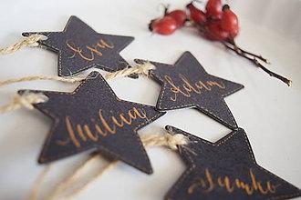 Papiernictvo - Vianočné menovky // hviezdy (4 ks) - 8718621_