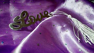 Papiernictvo - Elegantná kovová záložka (Kovová záložka - Love) - 8716869_