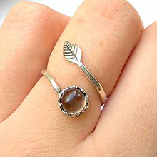Prstene - Simple Leaf Silver Gemstone Ring Ag925 / Strieborný prsteň s minerálom #0436 (Smoky Quartz / Dymový krištáľ) - 8723661_