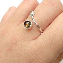Prstene - Simple Leaf Silver Gemstone Ring Ag925 / Strieborný prsteň s minerálom #0436 (Smoky Quartz / Dymový krištáľ) - 8723699_