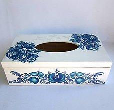 Krabičky - Krabica na vreckovky- modrý folk - 8723160_