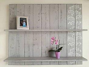 Nábytok - Polička - sivé kvetinky II - 8721126_
