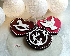 Dekorácie - Vianočné ozdoby masív sada bordová - 8723607_