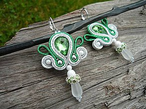 Náušnice - Soutache náušnice Luxury Light Green tears - 8723957_
