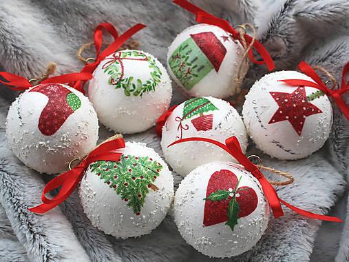 Dekorácie - Vianočné gule zasnežené - 8721258_