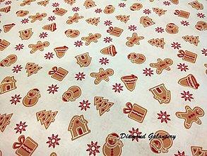 Textil - Bavlnená látka - medovníčky - cena za 10 cm - 8722958_