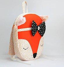 Detské tašky - RUKSAK baby LÍŠKA oranžový 2,5r. (Čierna mašlička) - 8720394_