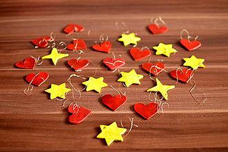 Dekorácie - Vianočné ozdoby - srdiečka a hviezdičky - 8719861_