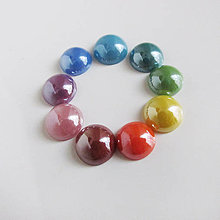 Komponenty - Sklenený perleťový kabošon / kruh 9,5mm - 8724248_