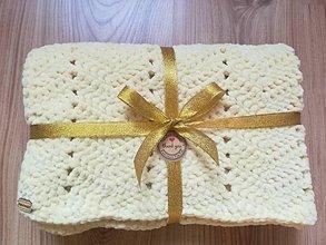 Textil - Háčkovaná detská deka maslovej farby - 8720995_