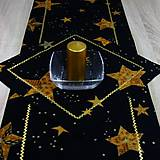 - Polnočné zlaté hviezdy - obrus štvorec 40x40 - 8723469_