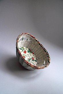 Košíky - Košík papierový - Jahody | malý biely - 8724145_