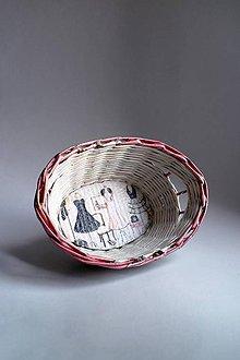 Košíky - Košík papierový - Ružový | Šaty | malý biely - 8724280_