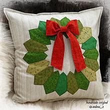 """Úžitkový textil - vankúš """"vianočný veniec"""" - 8720645_"""