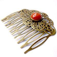 Ozdoby do vlasov - Vintage Red Jasper Hair Comb / Hrebienok do vlasov s červeným jaspisom /0464 - 8728945_