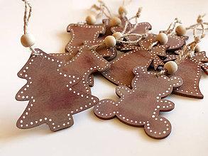 Dekorácie - Drevené vianočné ozdoby sada 5ks - 8726794_