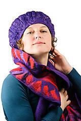 Šály - Dámsky vlnený šál, ručne plstený z jemnej Merino vlny, fialový šál - 8729647_